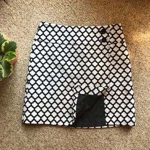 Navy and White Moroccan Tile Pattern skirt Talbots